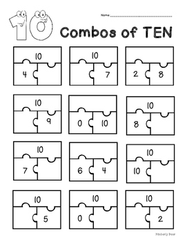 COMBOS of 10 --  Addition Practice Worksheet -- Part, Part, Whole