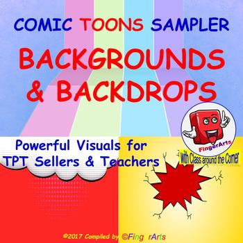 COMIC BACKGROUNDS / BACKDROPS SAMPLER for TPT Sellers / Creators / Teachers
