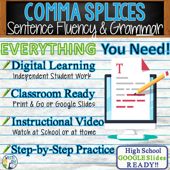 Comma Splices in Grammar Activity - GOOGLE Links, PPT, Lesson Plan &  Worksheets
