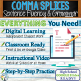 Comma Splice Fused Sentence | Writing Grammar Sentence Fluency | Print & Digital