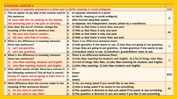 COMMA WORKSHEETS WITH ANSWERS