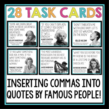 COMMAS ACTIVITY: QUOTES TASK CARDS