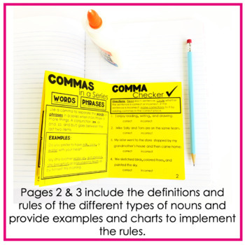 "COMMA RULES ""No Cut"" Interactive Notebook: In a Series"