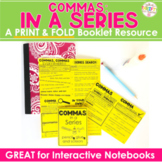 """Commas In a Series COMMA RULES Interactive Notebook """"No Cut"""""""