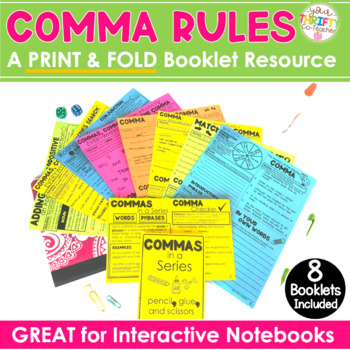 "COMMA RULES Interactive Notebook Commas In a Series, Appositives ""No Cut"" BUNDLE"