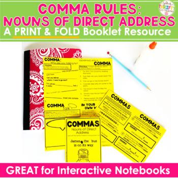 "COMMAS ""No Cut"" Interactive Notebook: Noun of Direct Address (Person Spoken To)"