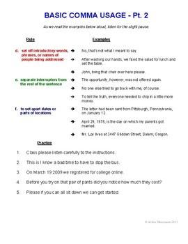 COMMAS & SEMICOLONS BUNDLE  Lessons, Worksheets, Quizzes