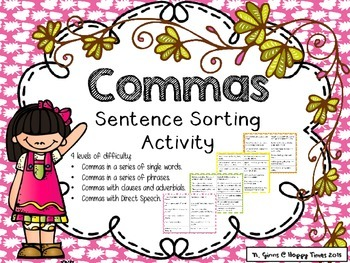 COMMAS in a Series, Clauses, Dialogues SORTING ACTIVITY