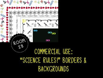 """COMMERCIAL USE: """"Science Rules"""" Clip Art Borders and Backgrounds"""