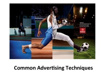 COMMON ADVERTISING TECHNIQUE POWER POINT, HANDOUTS, AND QUIZ