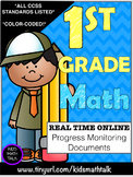 {COMMON CORE} 1st grade Math Progress Monitoring Documents