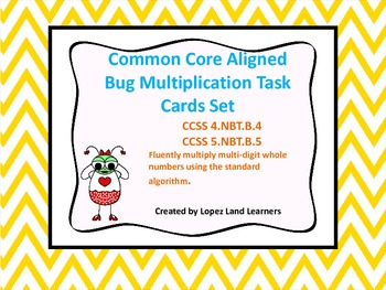 COMMON CORE ALIGNED BUG MULTIPLICATION TASK CARD SET FREEBIE 4th 5th GRADES