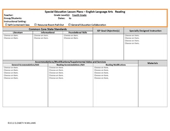 COMMON CORE ALIGNED SPECIAL EDUCATION INTERACTIVE LESSON PLAN TEMPLATE 4-5
