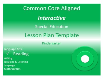 COMMON CORE ALIGNED SPECIAL EDUCATION INTERACTIVE LESSON PLAN - Special education teacher lesson plan template