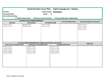 CORE ALIGNED SPECIAL EDUCATION INTERACTIVE LESSON PLAN TEMPLATE K - Common core aligned lesson plan template