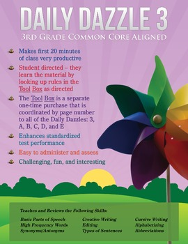 FREE COMMON CORE ALIGNMENT - MORNING WORK - DAILY DAZZLE 3 - 3rd Grade