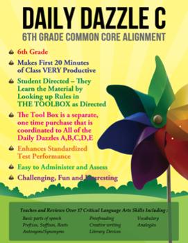 FREE COMMON CORE ALIGNMENT - DAILY DAZZLE C BELL RINGER -6th Grade