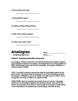 COMMON CORE - Analogies (6 worksheets)