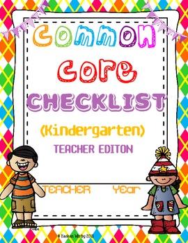 COMMON CORE CHECKLIST ELA AND MATH KINDERGARTEN BACK TO SCHOOL