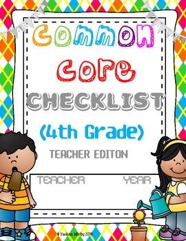 COMMON CORE CHEKLIST ELA AND MATH BUNDLED 4th Grade-BACK TO SCHOOL