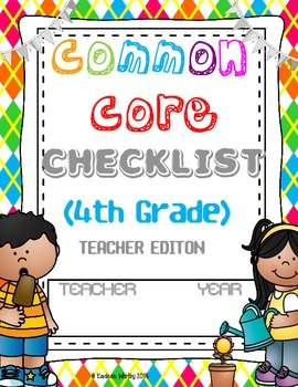 COMMON CORE CHEKLIST ELA AND MATH BUNDLED 4th Grade-BACK T