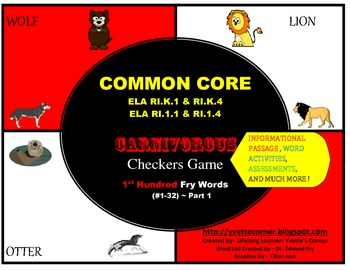 COMMON CORE Carnivorous Checkers Game (First Hundred FRY Words #1-32)