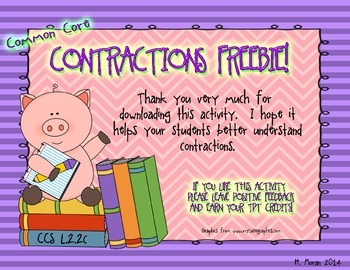 COMMON CORE Contractions FREEBIE