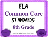 COMMON CORE ELA Posters (8th Grade) ~ Updated Version