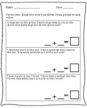 COMMON CORE: FIRST GRADE - 1.OA.1 Math word problems to 20