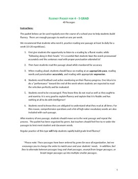 COMMON CORE FLUENCY/COMPREHENSION  PACKET 4-5TH GRADE