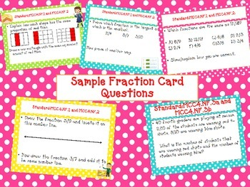 COMMON CORE FRACTION TASK CARDS Equivalent, Number Line, Compare, Add Fractions