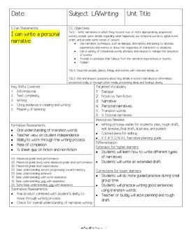 W.1.3 COMMON CORE First Grade Personal Narrative Unit