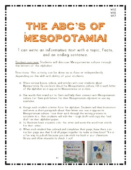COMMON CORE First Grade Writing The ABCs of Mesopotamia