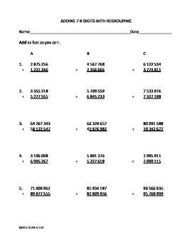 4-6 GREATER NUMBER WORKSHEETS on PLACE VALUE, ADDITION, SUBTRACTION & DECIMALS