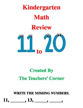 Common Core Kindergarten Math Review...11 to 20: Counting and Cardinality