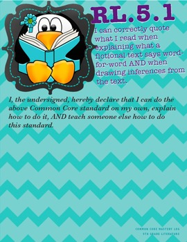 COMMON CORE MASTERY LOG - Reading Literature (5th Grade)