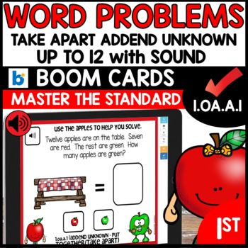 COMMON CORE MATH ASSESSMENT 1.OA.A.1 ADDEND UNKNOWN   BOOM CARDS
