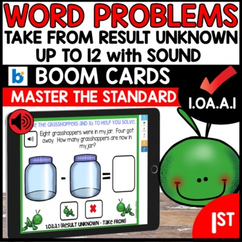 COMMON CORE MATH ASSESSMENT 1.OA.A.1 RESULT UNKNOWN   BOOM CARDS