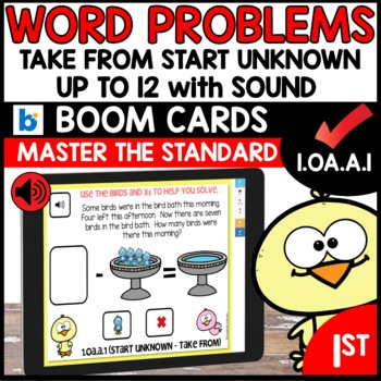 COMMON CORE MATH ASSESSMENT 1.OA.A.1 START UNKNOWN | BOOM CARDS