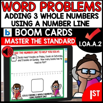 COMMON CORE MATH ASSESSMENT 1.OA.A.2 USING NUMBER LINE | BOOM CARDS