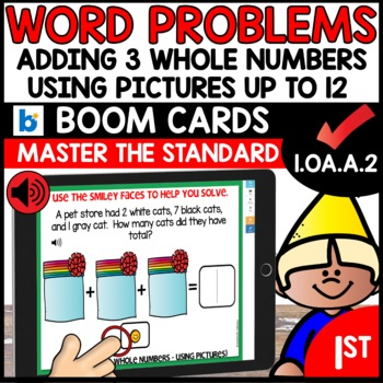 COMMON CORE MATH ASSESSMENT 1.OA.A.2 USING PICTURES | BOOM CARDS