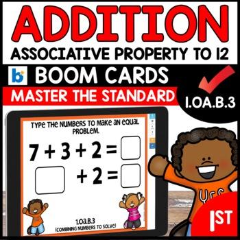 COMMON CORE MATH ASSESSMENT 1.OA.B.3 ASSOCIATIVE PROPERTY | BOOM CARDS