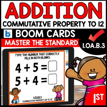 COMMON CORE MATH ASSESSMENT 1.OA.B.3 COMMUTATIVE PROPERTY | BOOM CARDS