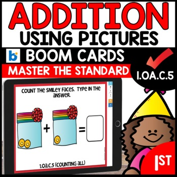 COMMON CORE MATH ASSESSMENT 1.OA.C.5 COUNTING ALL    BOOM CARDS