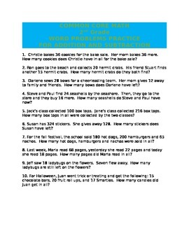 COMMON CORE MATH WORD PROBLEMS 2ND GRADE
