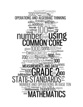 COMMON CORE MATHEMATICS - GRADE 2 - 3 WORDLE POSTERS - WHITE BACKGROUNDS