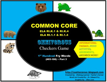 COMMON CORE Omnivorous Checkers Game (First Hundred FRY Wo