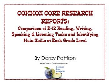 COMMON CORE RESEARCH: Comparison of Reading, Writing, Spea
