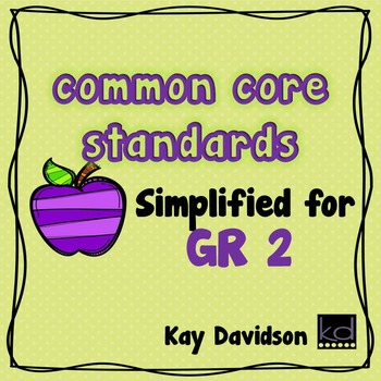 COMMON CORE STANDARDS:  Simplified for Second Grade Math and ELA