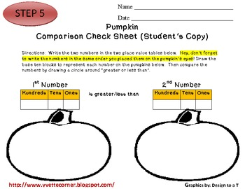 COMMON CORE STANDARDS aligned Pumpkin Comparing Numbers/Place Value